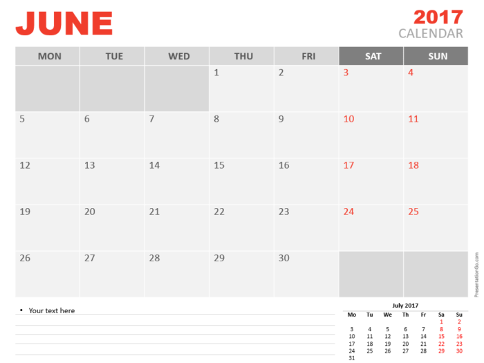 Free June 2017 PowerPoint Calendar Start Monday