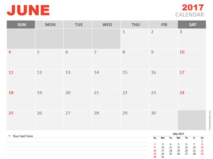 Free June 2017 PowerPoint Calendar Start Sunday