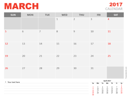 Free March 2017 PowerPoint Calendar Start Sunday