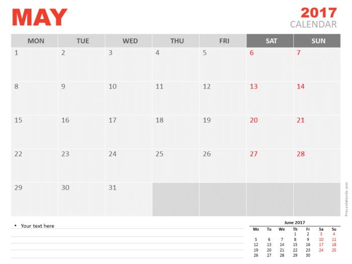 Free May 2017 PowerPoint Calendar Start Monday