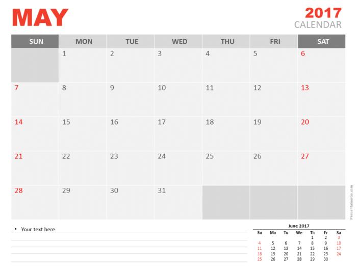 Free May 2017 PowerPoint Calendar Start Sunday