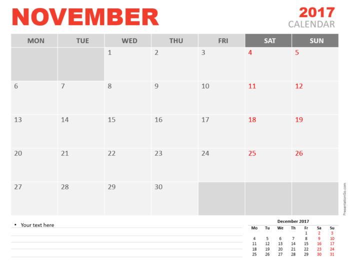Free November 2017 PowerPoint Calendar Start Monday