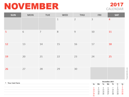 Free November 2017 PowerPoint Calendar Start Sunday