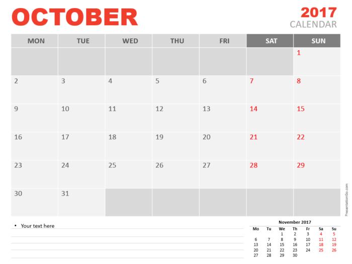 Free October 2017 PowerPoint Calendar Start Monday
