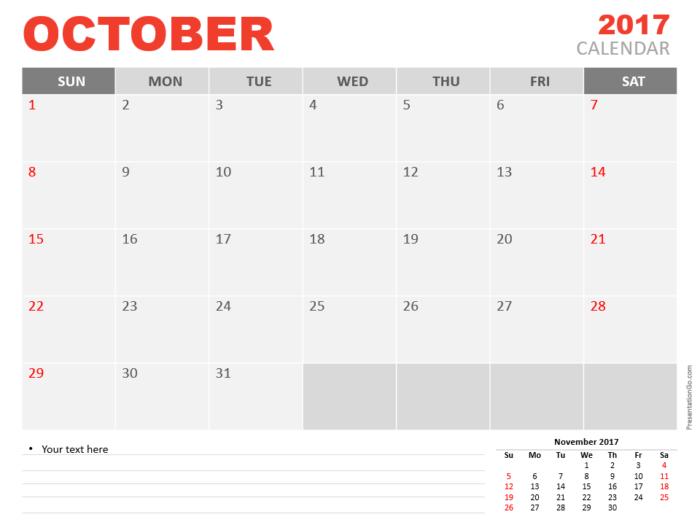 Free October 2017 PowerPoint Calendar Start Sunday