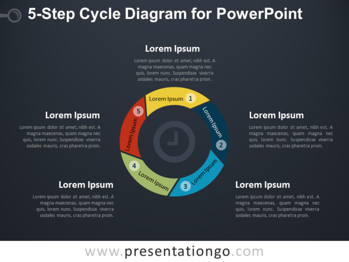 5-Step Cycle Diagram for PowerPoint - Dark Background