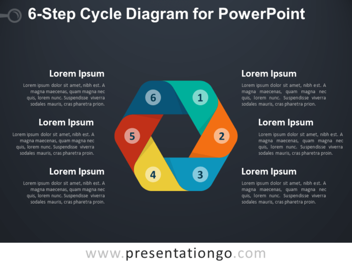 Free 6-Step Cycle Diagram for PowerPoint - Dark Background