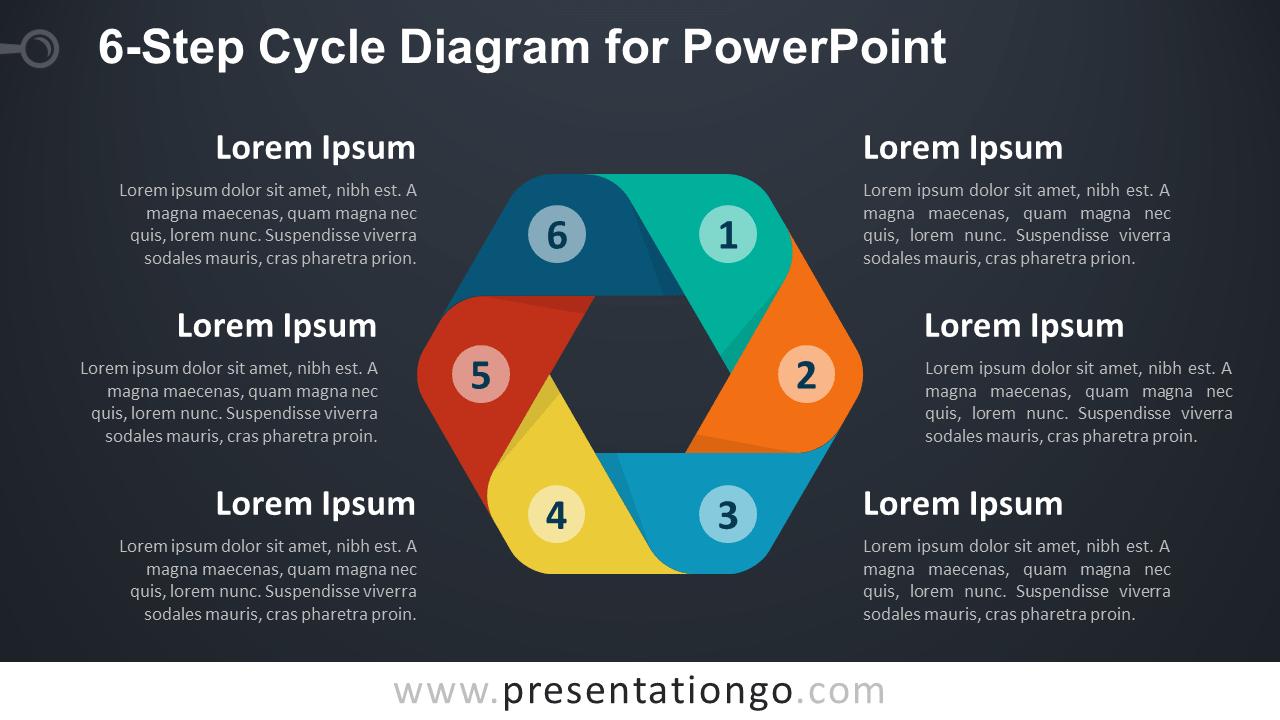 6-Step Cycle PowerPoint Diagram - Dark Diagram