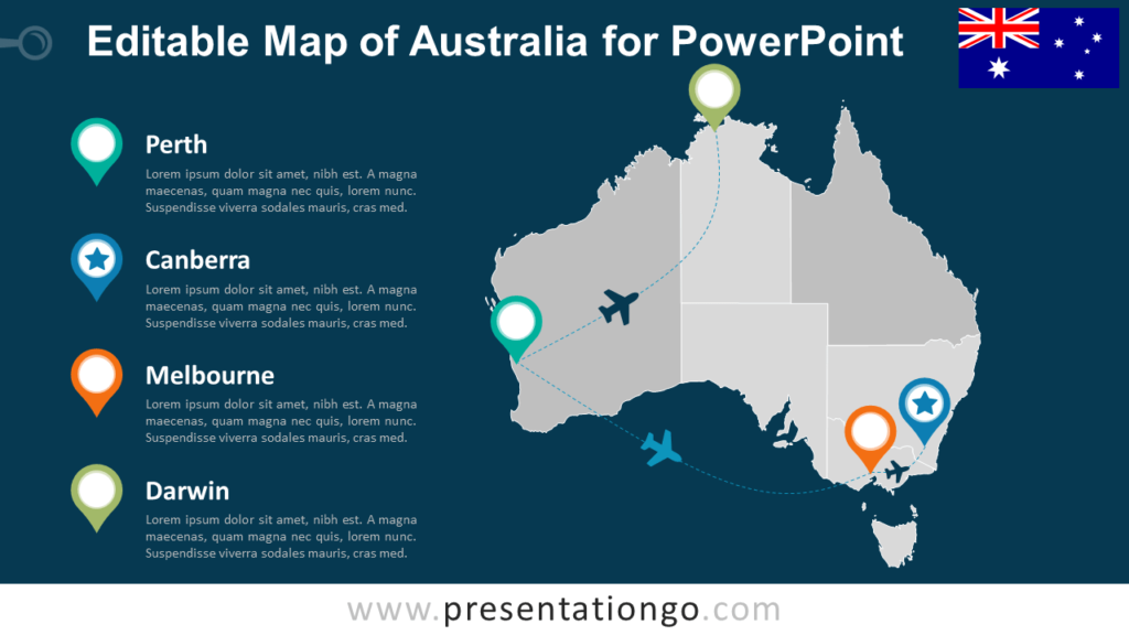 Free PowerPoint Map of Australia with States - Dark Background