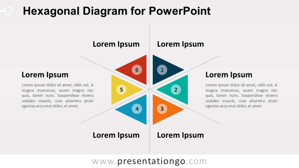 Free Hexagonal Diagram with Triangles for PowerPoint