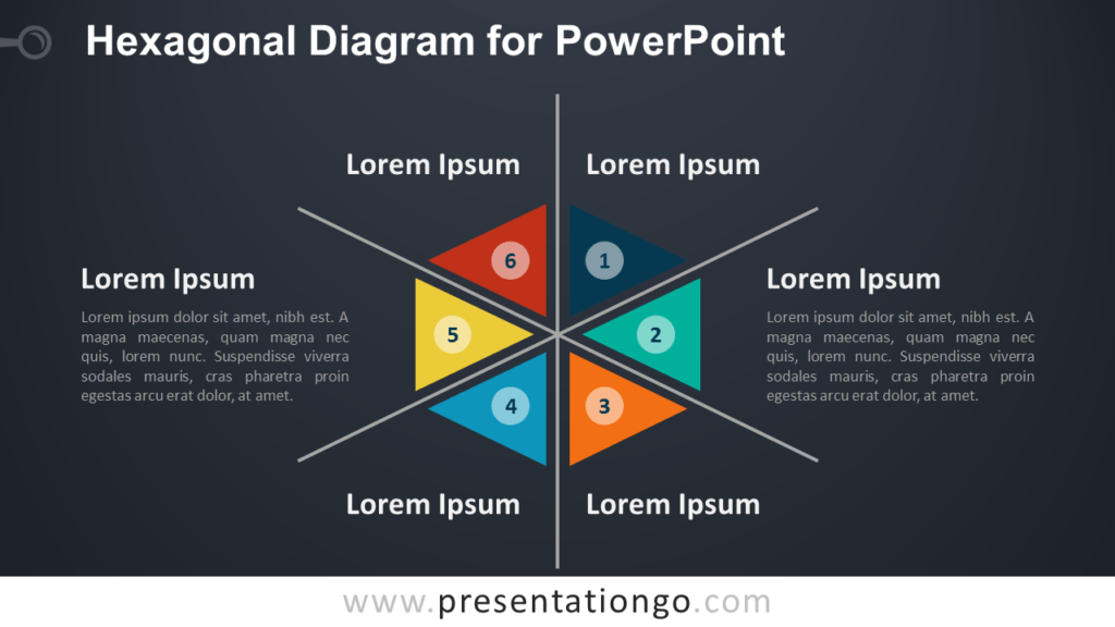 Free Hexagonal Diagram with Triangles for PowerPoint - Dark Background