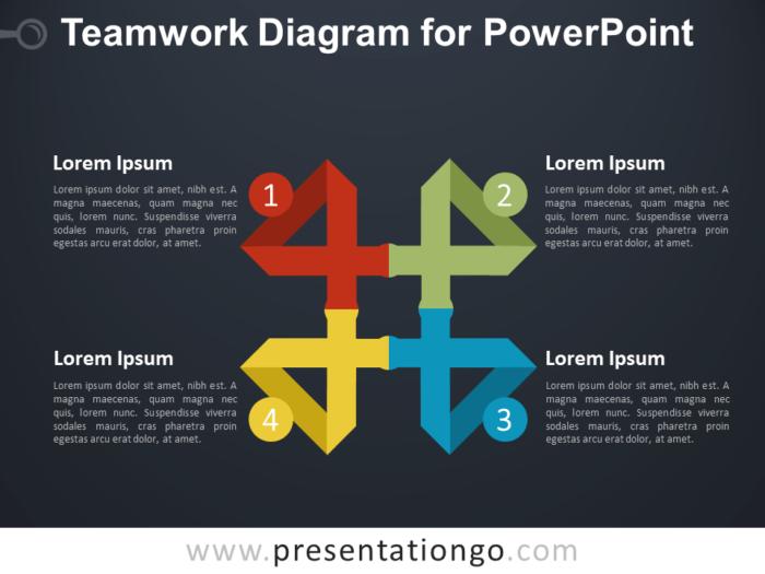Teamwork Diagram for PowerPoint - Dark Background