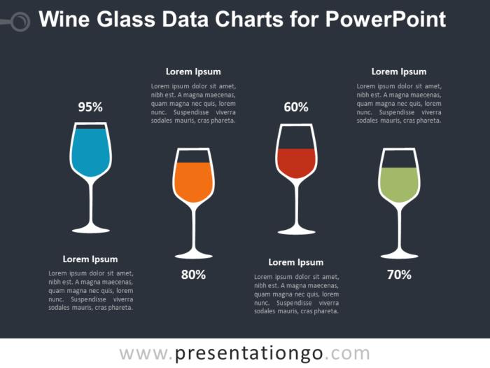 Wine Glass Charts for PowerPoint - Dark Background
