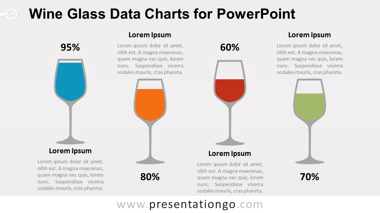 Wine Glass with Data Charts for PowerPoint