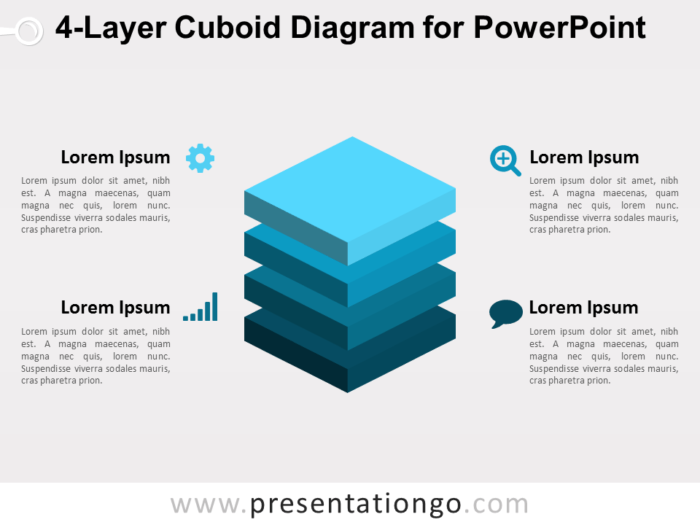 4-Layer Cuboid Diagram for PowerPoint