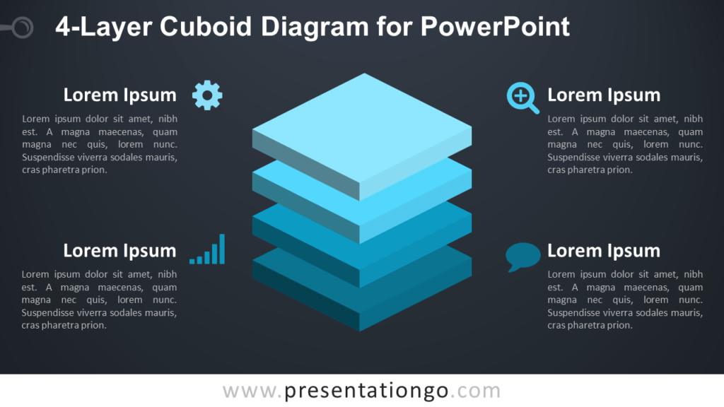 4-Layer Diagram for PowerPoint - Dark Background
