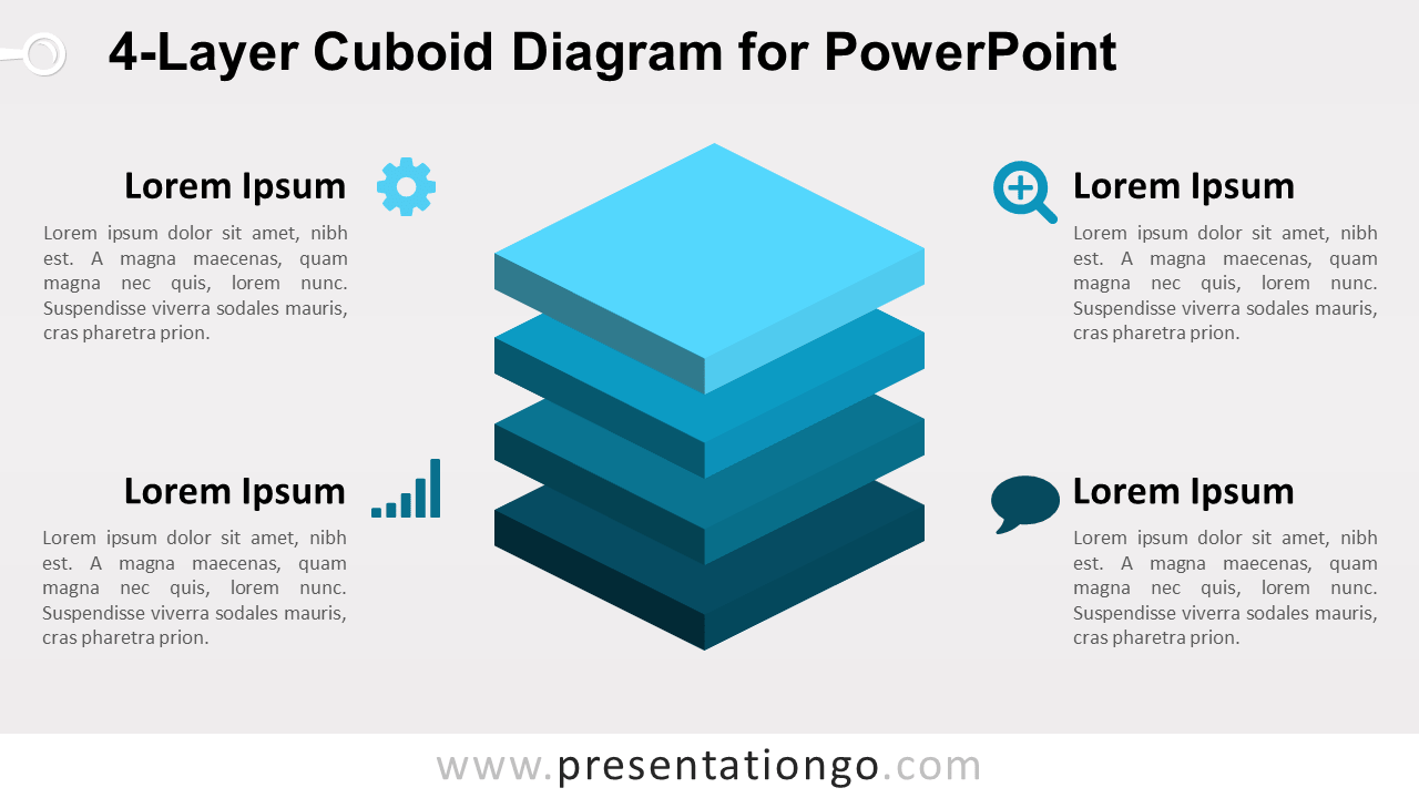 4-Layer Diagram for PowerPoint - 4 Stacked 3D Cubes