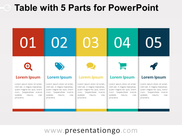 Free 5-Part Table for PowerPoint