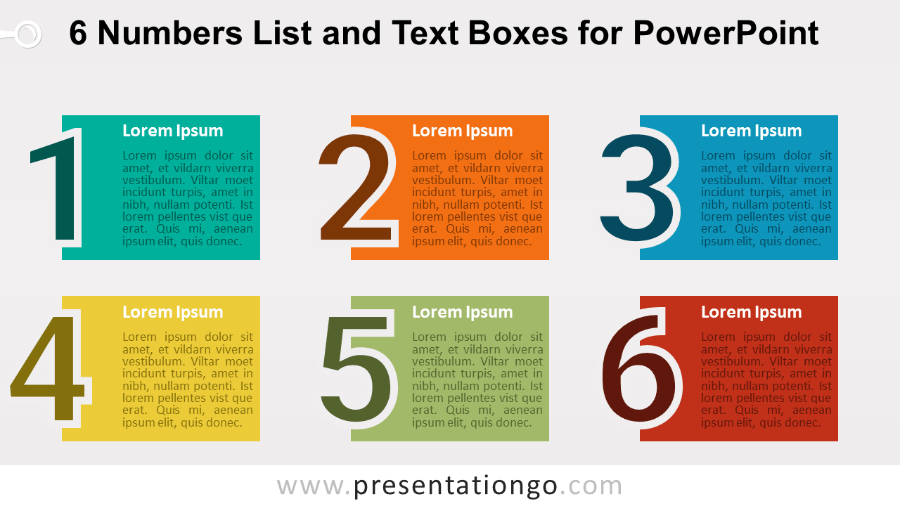 6 Numbers List with Text Boxes - PowerPoint Template