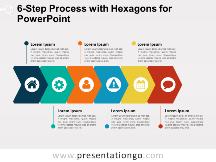 6-Step Process Diagram with Stacked Hexagons for PowerPoint