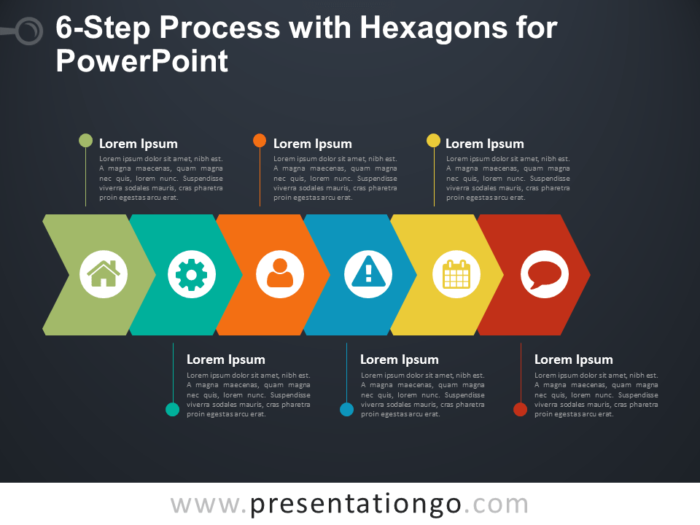 6-Step Process Diagram with Stacked Hexagons for PowerPoint - Dark Background