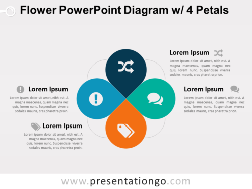 Flower Diagram with 4 Petals for PowerPoint