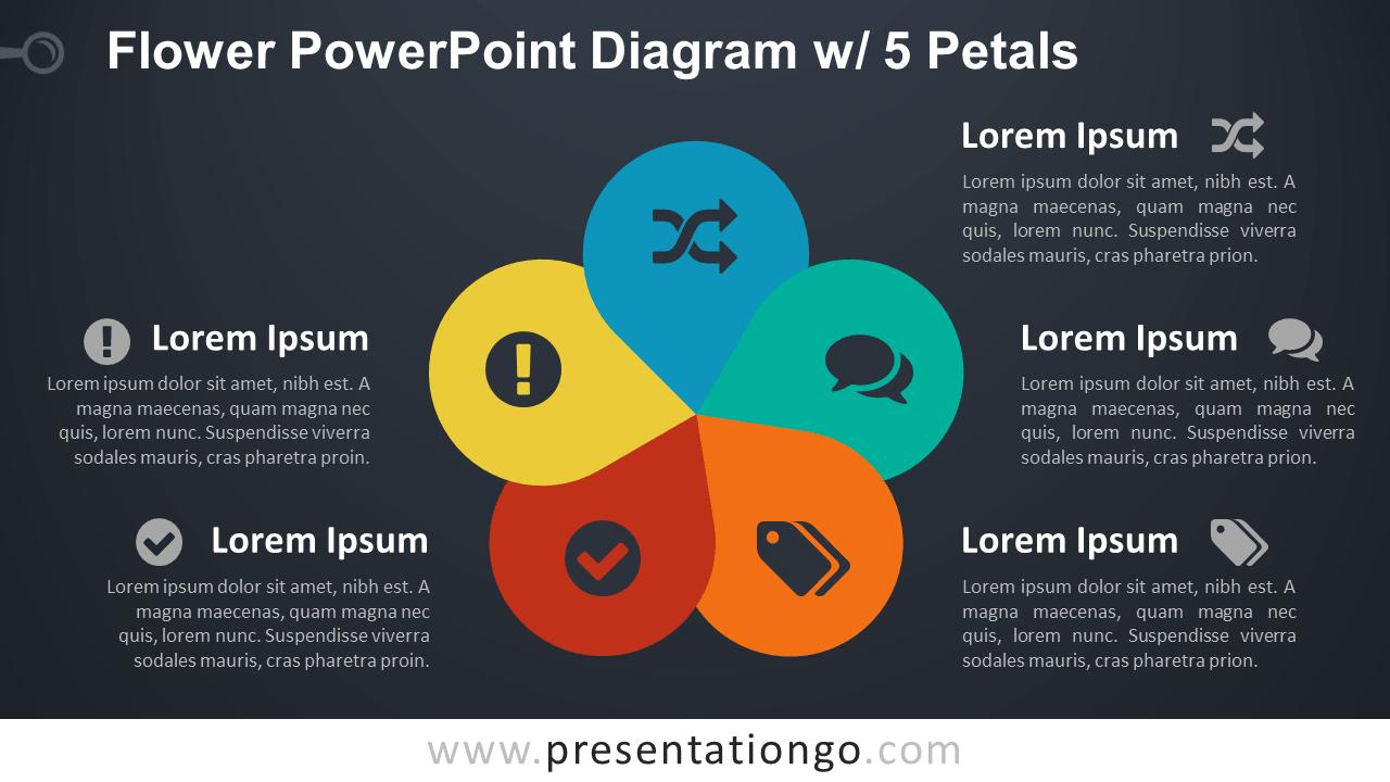 Flower Diagram with 5 Petals - PowerPoint Template - Dark Background