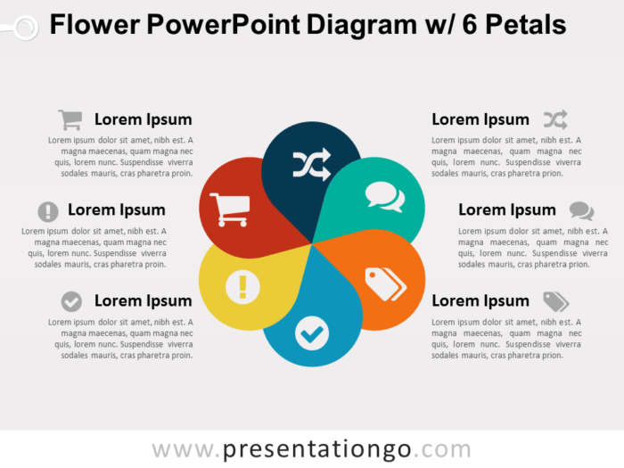 Flower Diagram with 6 Petals for PowerPoint