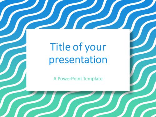 Blue Green Gradient Wavy Pattern PowerPoint Template