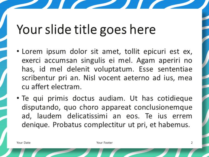Blue Green Gradient Wavy Pattern PowerPoint Template - Content Slide