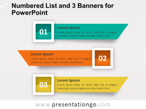 Numbered List with 3 Banners for PowerPoint