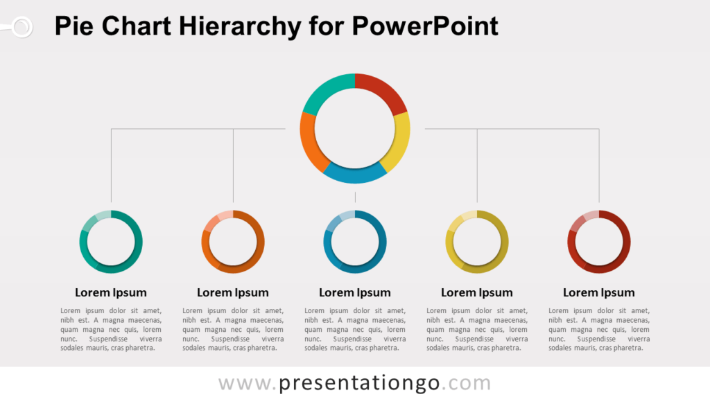 Pie Chart Hierarchy Diagram for PowerPoint