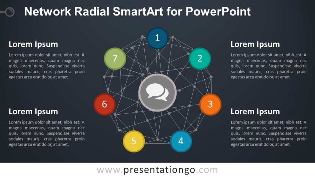 Radial Diagram with Network Wire-frame Sphere for PowerPoint - Dark Background