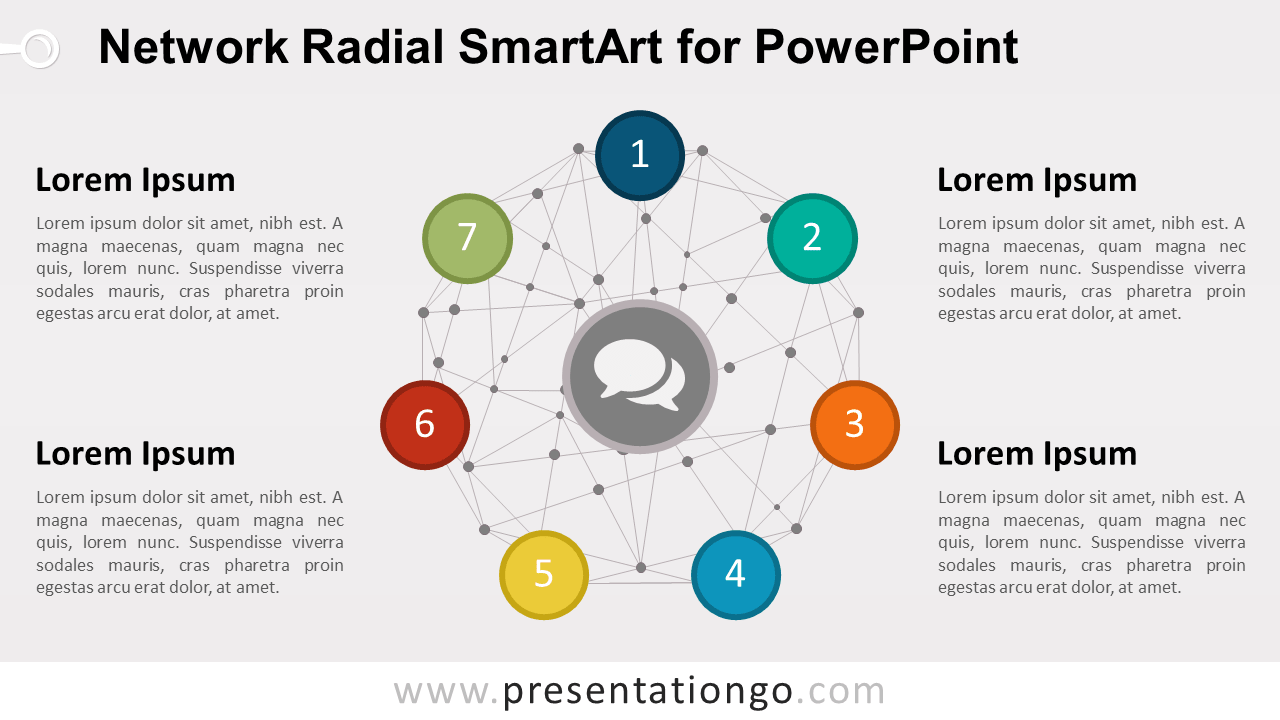 Radial Diagram with Network Wire-frame Sphere for PowerPoint