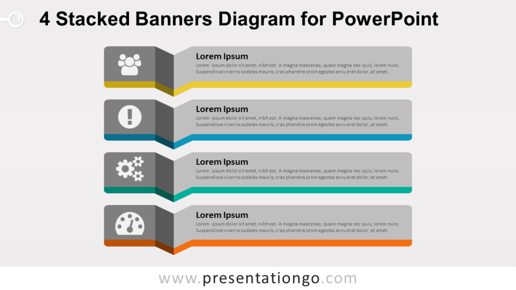 4 Stacked Banners - Diagram for PowerPoint