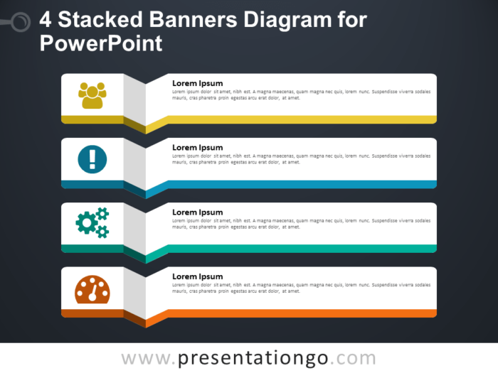 4 Stacked Banners for PowerPoint - Dark Background
