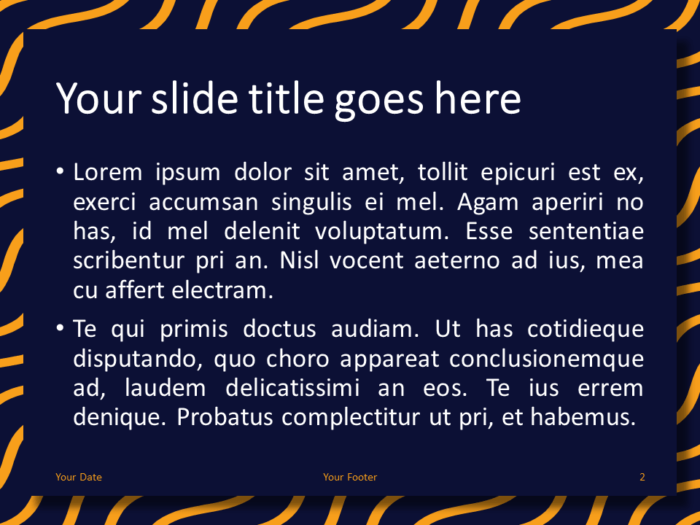 Yellow Blue Wavy Pattern PowerPoint Template - Content Slide