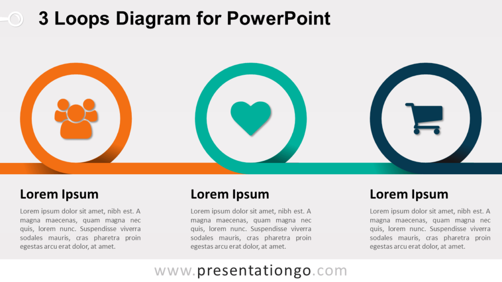 Coil Spring Diagram with 3 Loops for PowerPoint