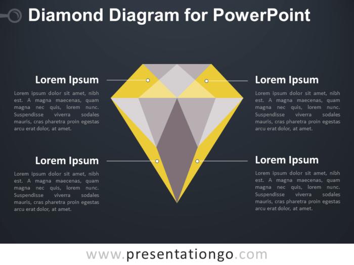 Diamond Diagram for PowerPoint - Dark Background