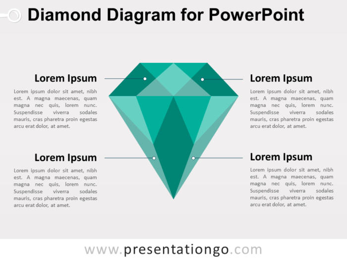 Green Diamond Diagram for PowerPoint
