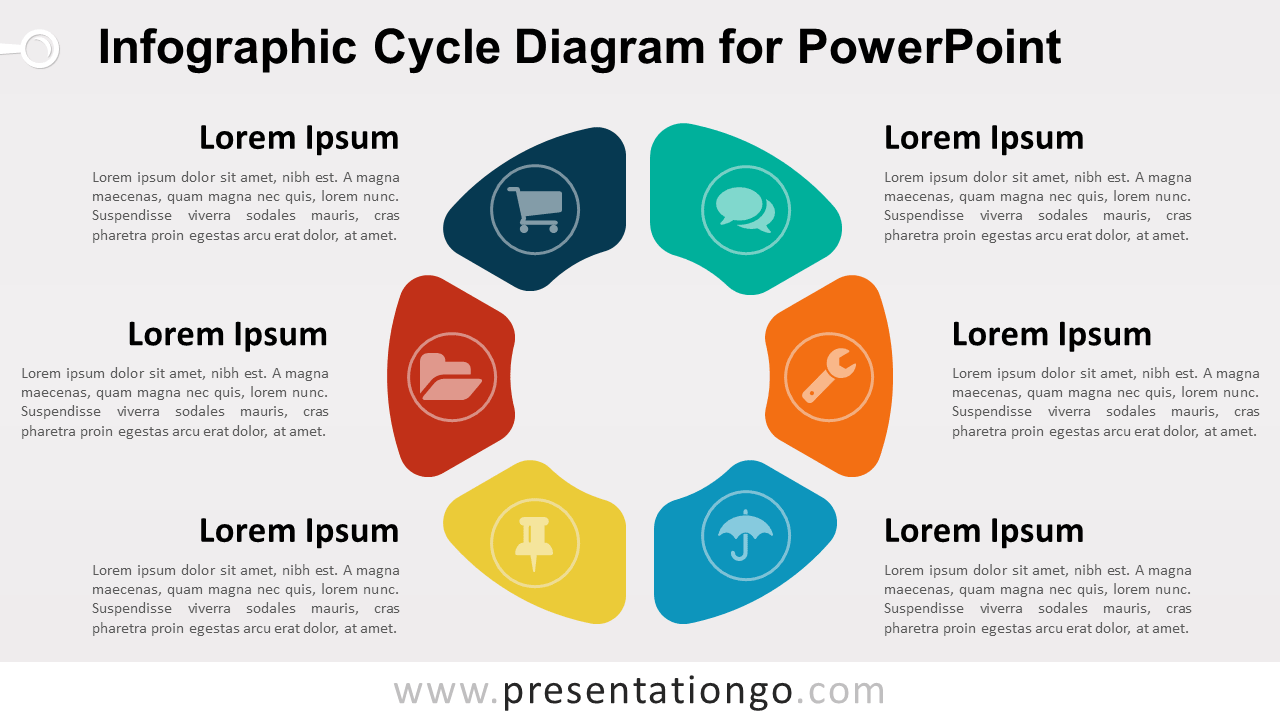 PowerPoint template with infographic cycle diagram