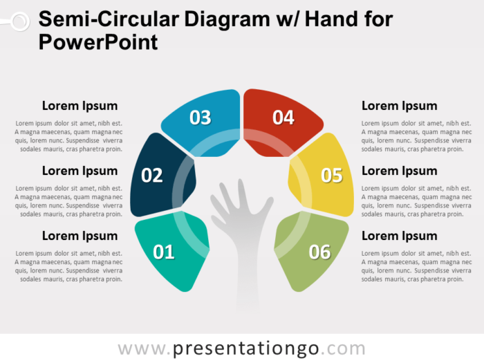 Semi-Circular Diagram with Hand for PowerPoint