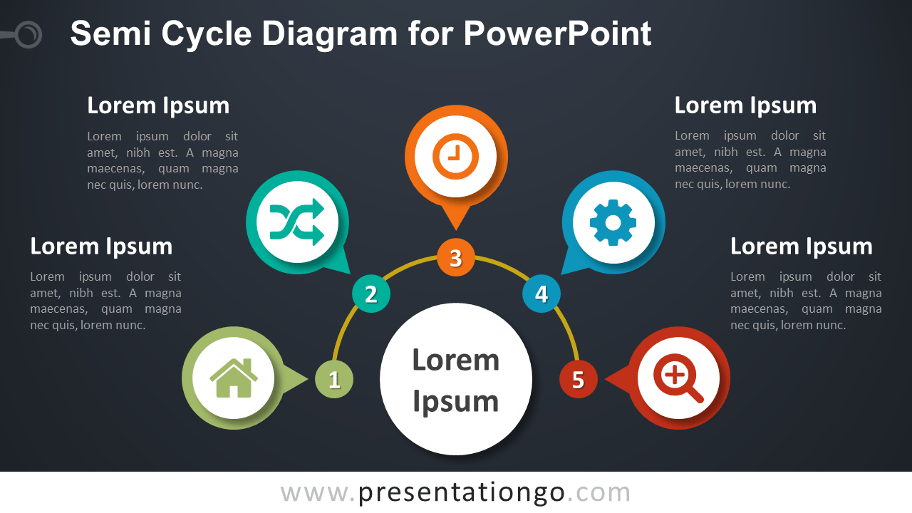 Semi-Cycle Diagram PowerPoint Template - Dark Background