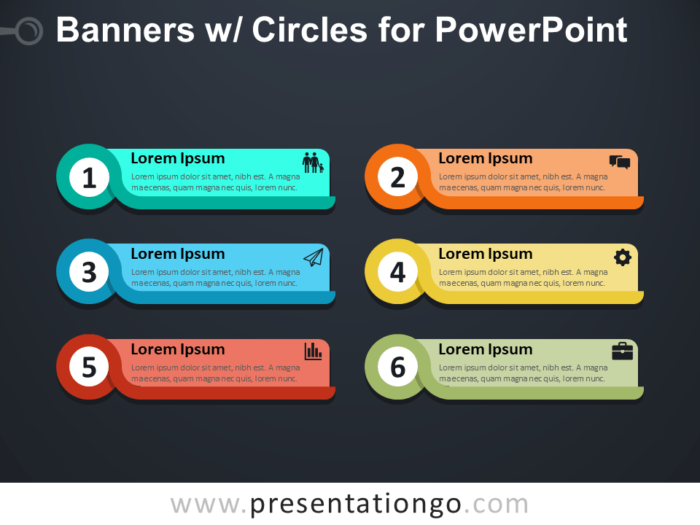 Banners with Circles for PowerPoint - Dark Background