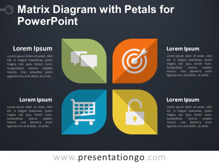 Matrix Diagram with Petals for PowerPoint - Dark Background