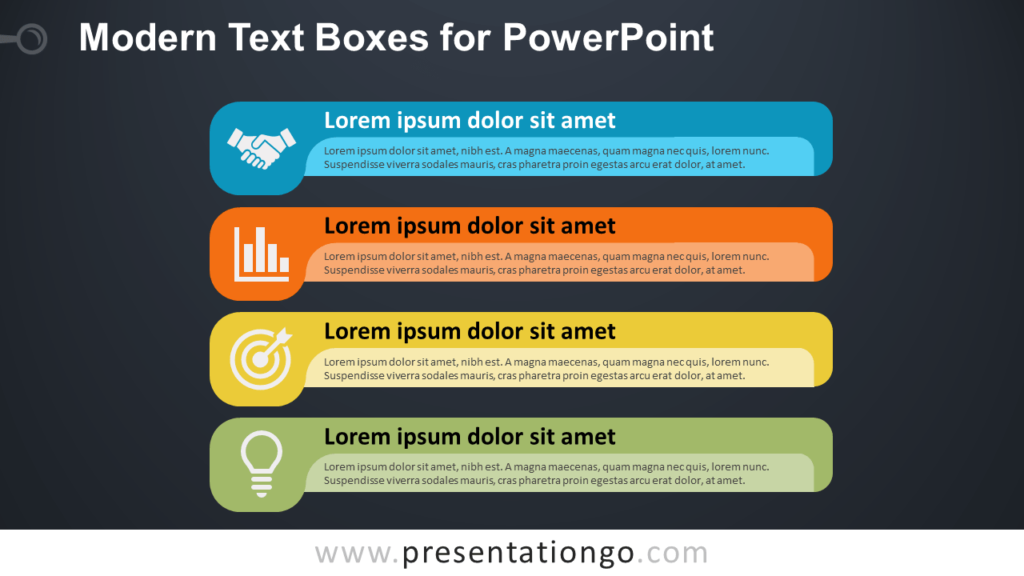 Modern Text Boxes or Banners for PowerPoint - Dark Background