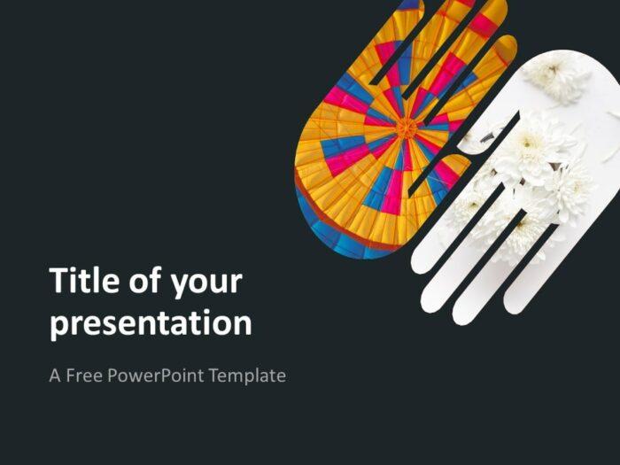 PowerPoint Template with 2 Hands - Dark Background