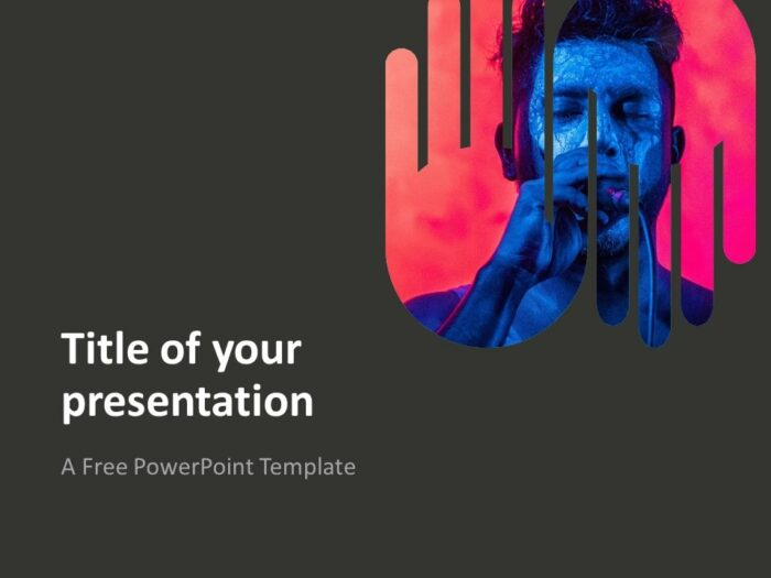 PowerPoint Template with Up-and-Down Hands - Dark Background