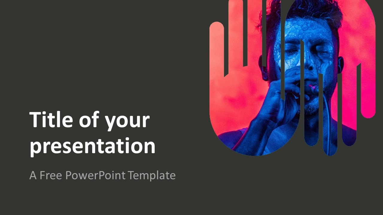 PowerPoint Template with Up-and-Down Hands Picture Placeholder - Dark Background