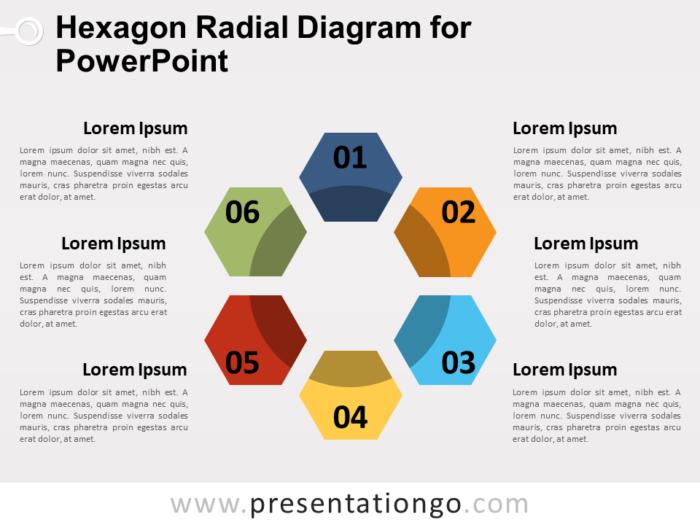 Free Hexagon Radial Diagram for PowerPoint